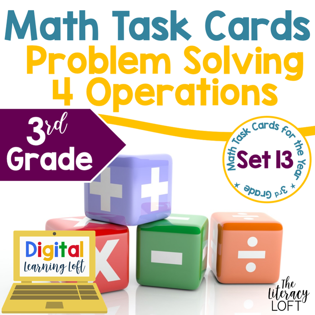 Problem Solving Math Task Cards (3rd Grade) Google Slides and Forms