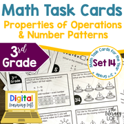 Properties of Operations and Number Patterns Math Task Cards (3rd Grade) Google Slides and Forms