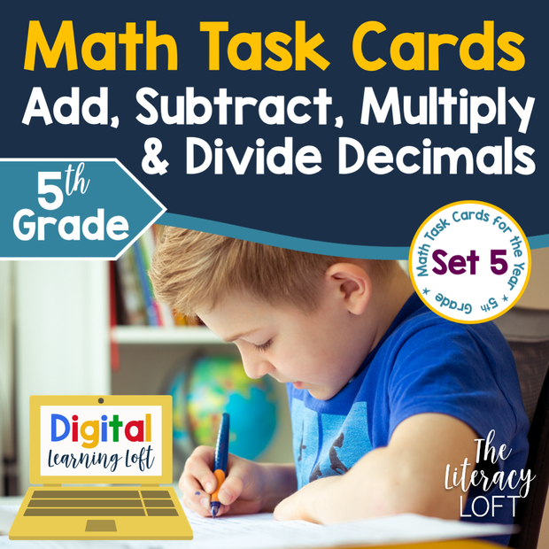 Add & Subtract, Multiply & Divide Decimals Task Cards (5th Grade) | Distance Learning | Google Apps