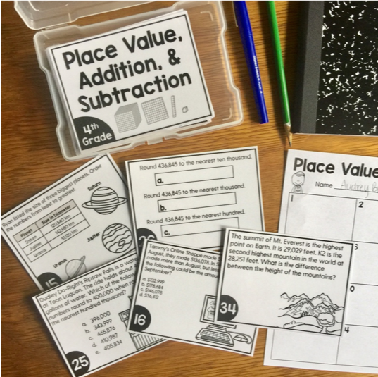 Math Task Cards for the Year Bundle (4th Grade)
