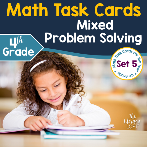 Mixed Problem Solving Math Task Cards (4th Grade)