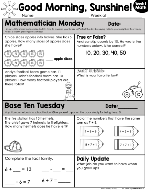 Math Morning Work 2nd Grade {September} | Distance Learning | Google Slides