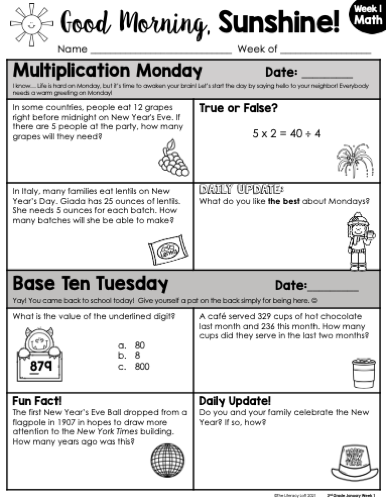Math Morning Work 3rd Grade {January} I Distance Learning I Google Slides