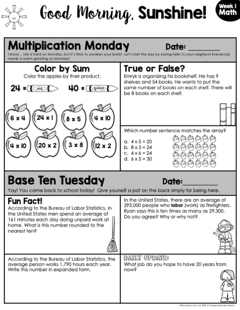 Math Morning Work 4th Grade {September} | Distance Learning | Google Slides