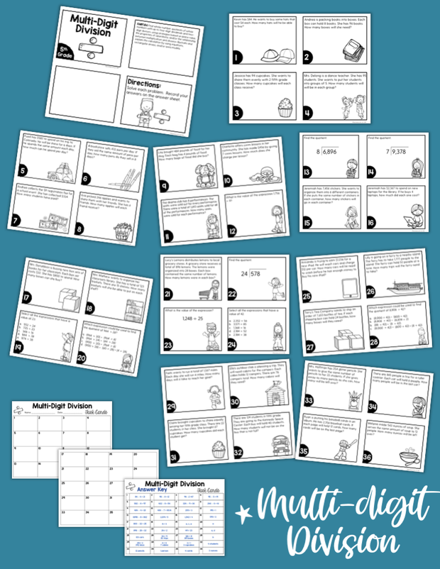 Math Task Cards for the Year Bundle (5th Grade) Google Slides & Forms Distance Learning