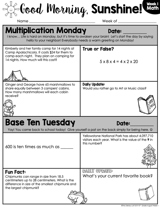 Math Morning Work 5th Grade {August} | Distance Learning | Google Slides