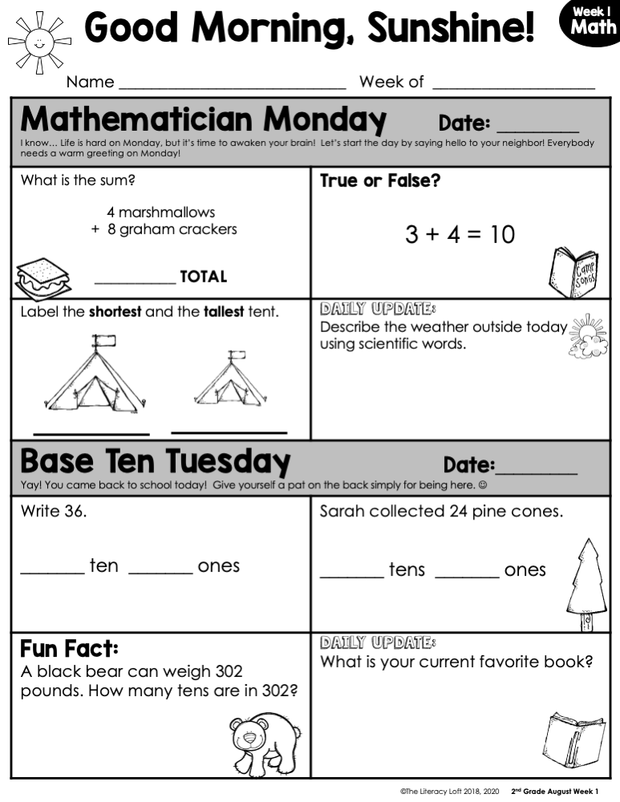 Math Morning Work 2nd Grade {August} | Distance Learning | Google Slides