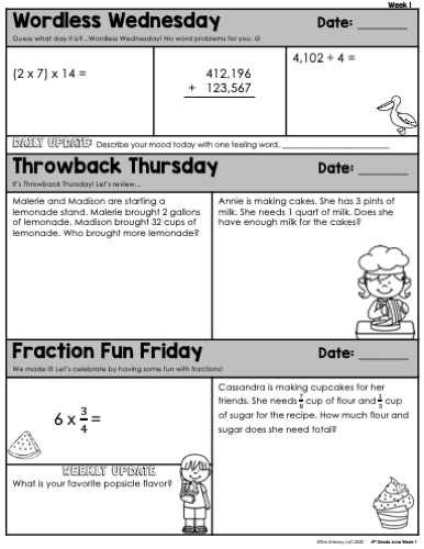 Math Morning Work 4th Grade {June} | Distance Learning | Google Slides