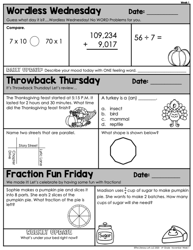 Math Morning Work 4th Grade {November} | Distance Learning | Google Slides