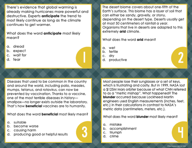 Context Clues Nonfiction Task Cards 6th Grade | Distance Learning | Google Slides and Forms