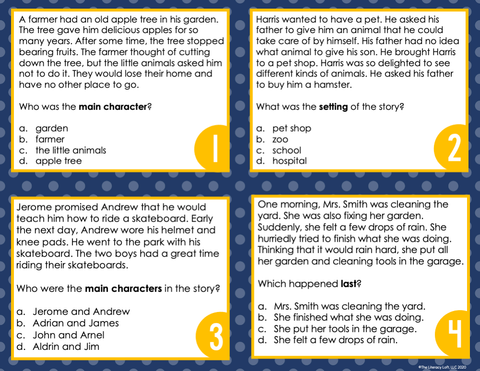 Story Elements Task Cards 3rd Grade | Distance Learning | Google Slides & Forms