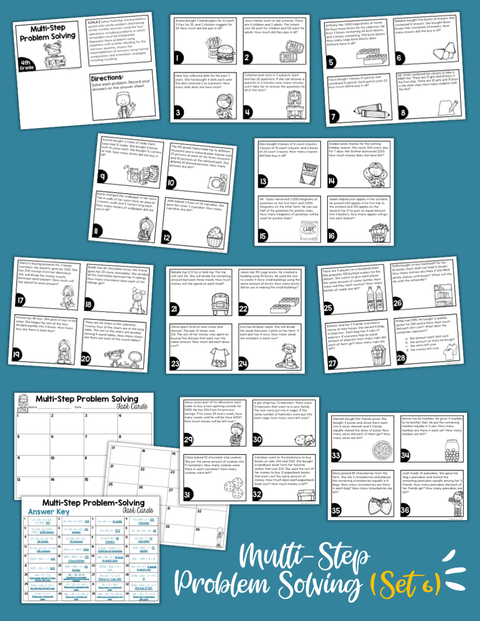 Math Task Cards for the Year Bundle (4th Grade) Google Slides & Forms Distance Learning