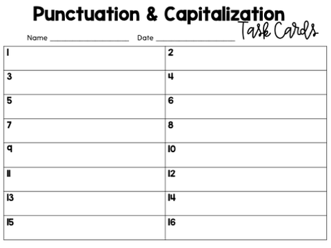 Punctuation & Capitalization Task Cards | Google Slides & Forms
