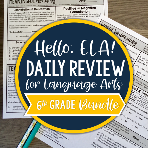 ELA Daily Review 6th Grade (Bundle) | Distance Learning | Google Slides