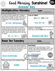 Math Morning Work 4th Grade {January} I Distance Learning I Google Slides