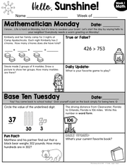 Math Morning Work 3rd Grade {August} | Distance Learning | Google Slides
