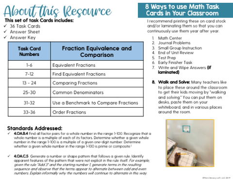 Fraction Equivalence & Comparison Math Task Cards (4th Grade)