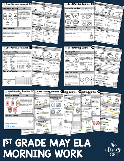 ELA Morning Work 1st Grade (May) | Distance Learning | Google Slides