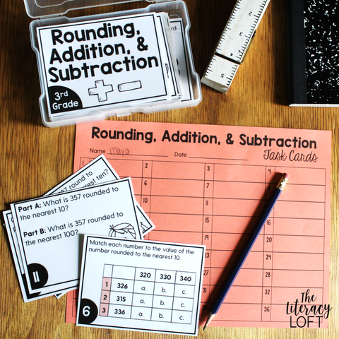 Rounding, Addition, and Subtraction Task Cards (3rd Grade) Google Slides & Forms