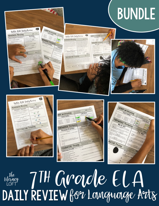 ELA Daily Review 7th & 8th Grade Bundle | Distance Learning | Google Slides