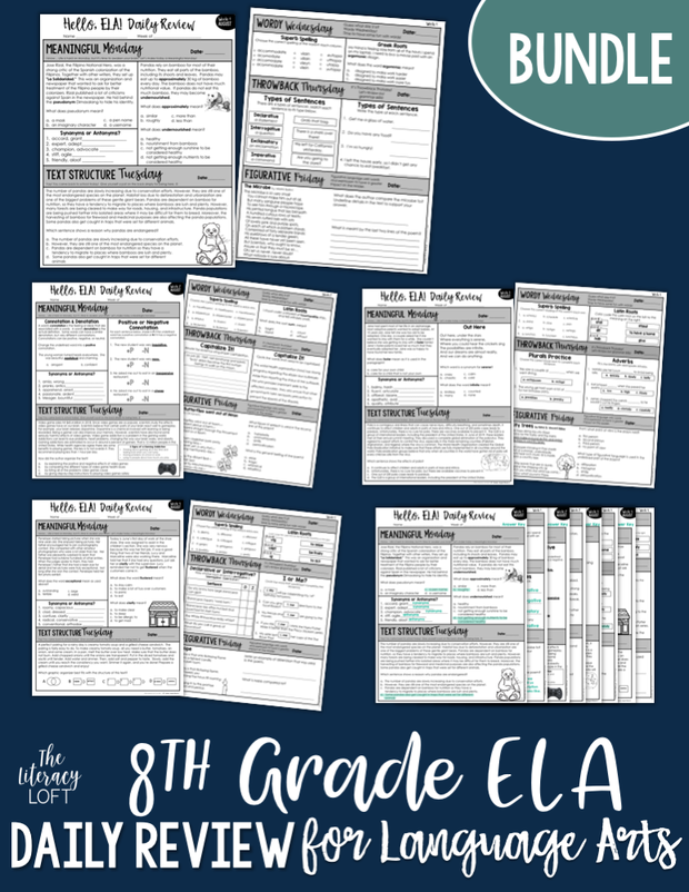 ELA Daily Review 8th Grade Bundle | Distance Learning | Google Slides
