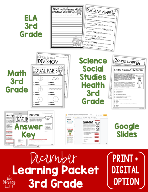 December Learning Packet 3rd Grade I Google Slides and Print