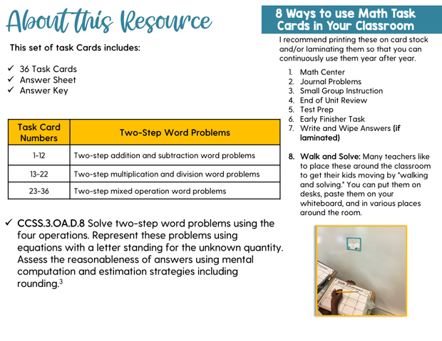 Two-Step Word Problems Task Cards (3rd Grade)