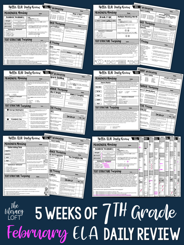 ELA Daily Review 7th Grade {February}