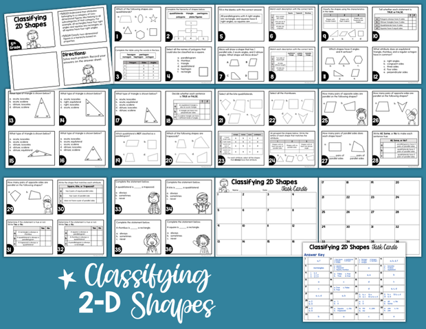 Classifying 2-D Shapes Task Cards (5th Grade) | Distance Learning