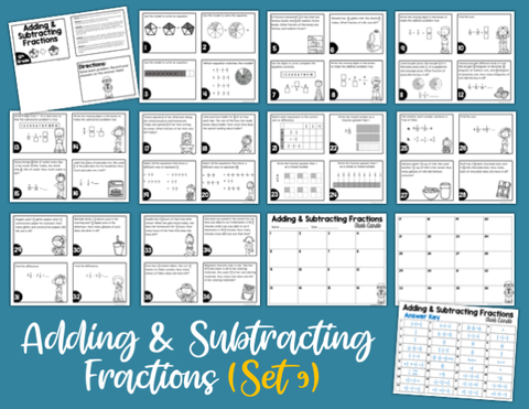 Adding and Subtracting Fractions Task Cards (4th Grade) Google Slides and Forms Distance Learning
