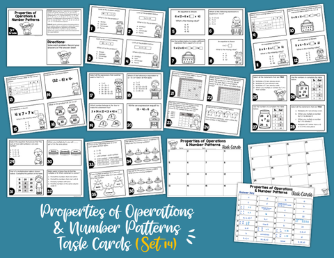 Properties of Operations and Number Patterns Math Task Cards (3rd Grade)