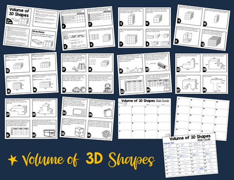 Volume of 3D Shapes Task Cards (5th Grade) | Distance Learning