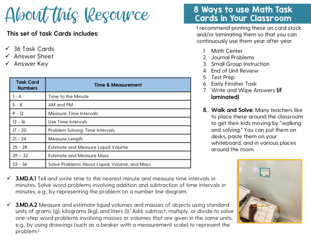Time and Measurement Math Task Cards (3rd Grade) Google Slides and Forms