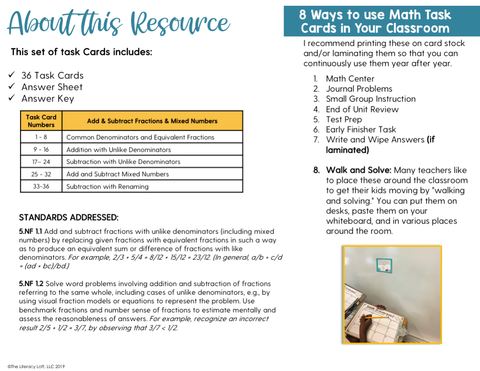 Add & Subtract Fractions & Mixed Numbers Task Cards (5th Grade) | Distance Learning | Google Apps