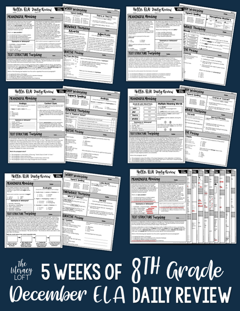 ELA Daily Review 8th Grade {December} I Distance Learning I Google Slides
