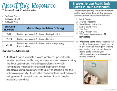 Multi-Step Problem Solving Math Task Cards (4th Grade)