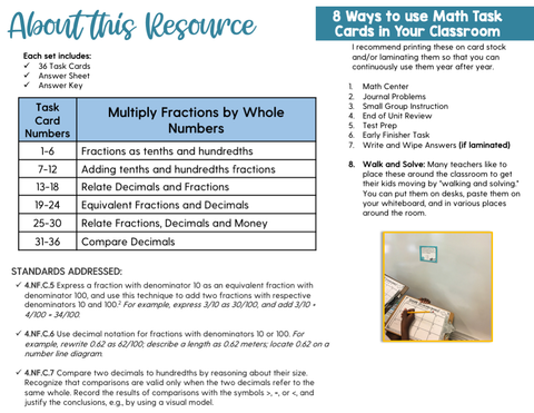Fractions and Decimals Task Cards (4th Grade)