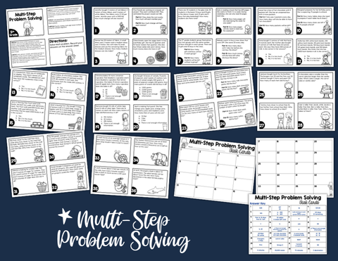 Multi-Step Problem Solving Task Cards (5th Grade) | Distance Learning