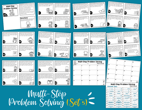 Multi-Step Problem Solving Math Task Cards (4th Grade) Google Slides & Forms Distance Learning