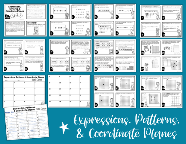 Expressions, Patterns, & Coordinate Planes Task Cards (5th Grade)