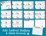 Add & Subtract, Multiply & Divide Decimals Task Cards (5th Grade)