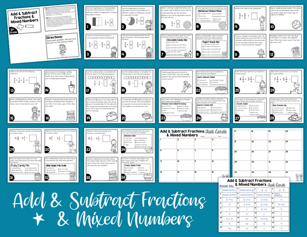Add & Subtract Fractions & Mixed Numbers Task Cards (5th Grade)