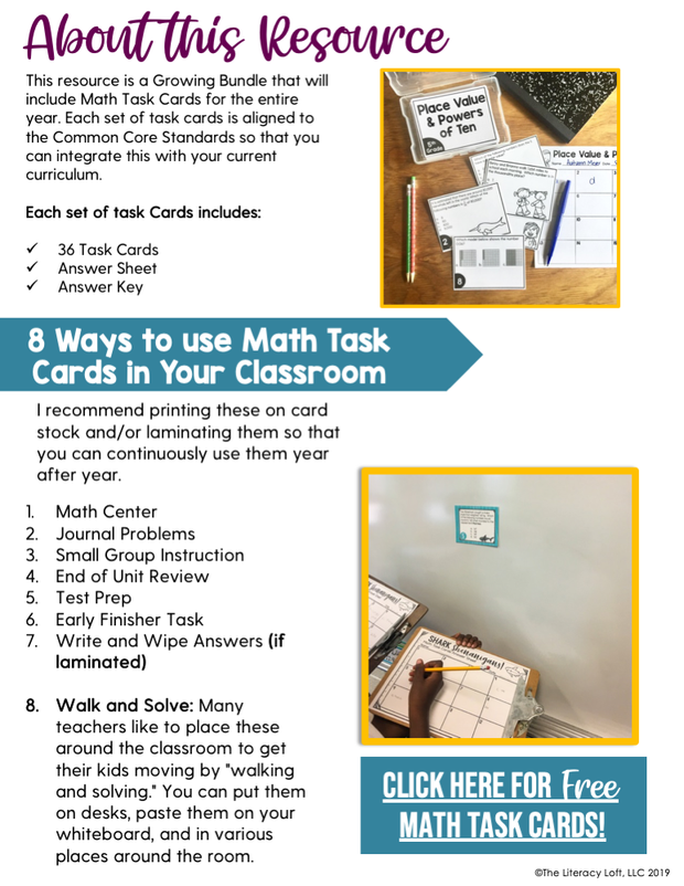 Math Task Cards for the Year Bundle (5th Grade)