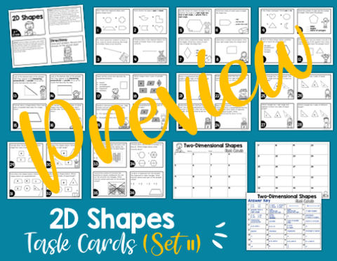 2D Shapes Math Task Cards (3rd Grade) Google Slides and Forms