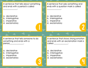 Types of Sentences Task Cards 6th Grade | Distance Learning | Google Slides & Forms