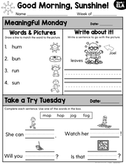 1st Grade ELA Morning Work (September) | Distance Learning | Google Slides