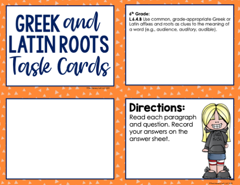 Greek and Latin Roots Task Cards 6th Grade | Distance Learning | Google Slides & Forms