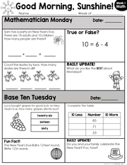 Math Morning Work 1st Grade {January} I Distance Learning I Google Slides