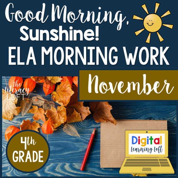 ELA Morning Work 4th Grade {November} | Distance Learning | Google Slides