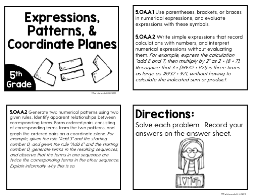 Expressions, Patterns, & Coordinate Planes Task Cards (5th Grade) | Distance Learning | Google Apps